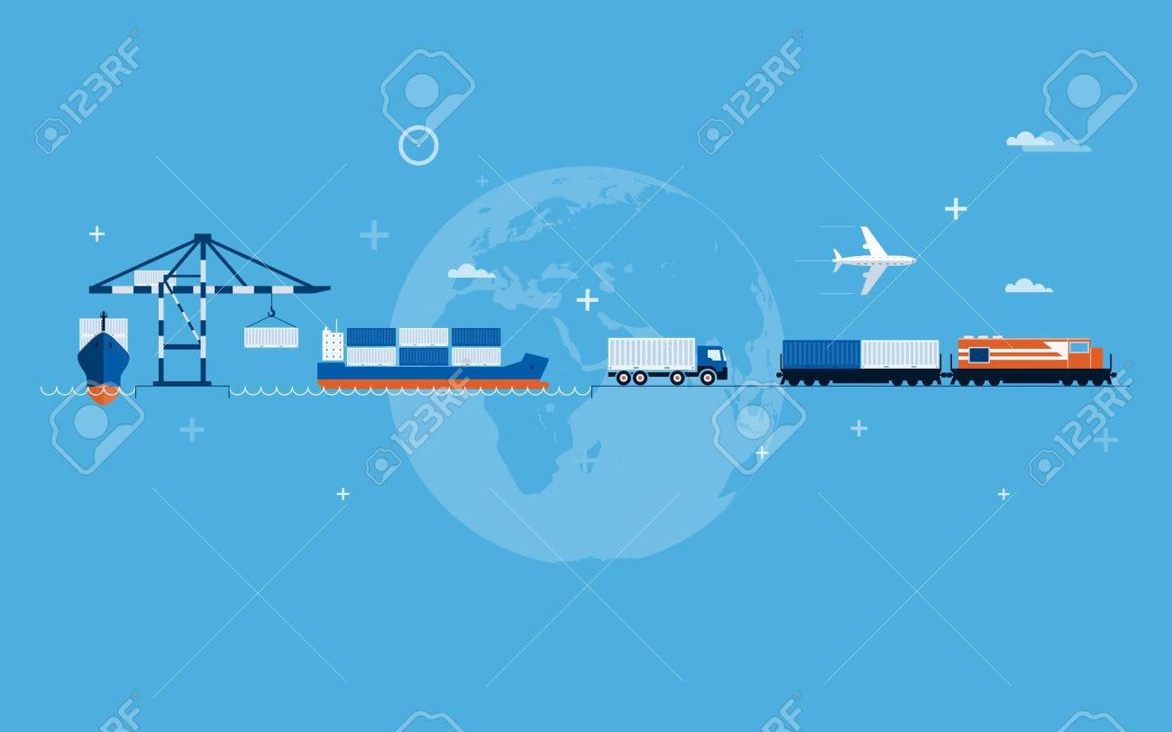 Vector flat global transportation concept illustration Stock Vector - 28909295
