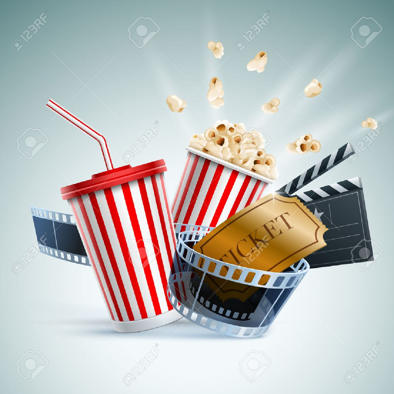 Popcorn box, disposable cup for beverages with straw, film strip, clapper board and ticket. Cinema Poster Design Template. Detailed vector illustration. - 31396468