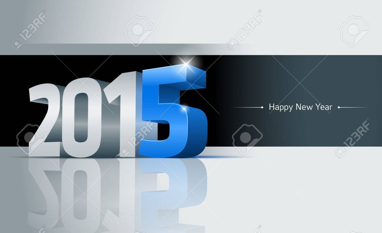 3d 2015 Happy New Year Greeting Card Elements Are Layered