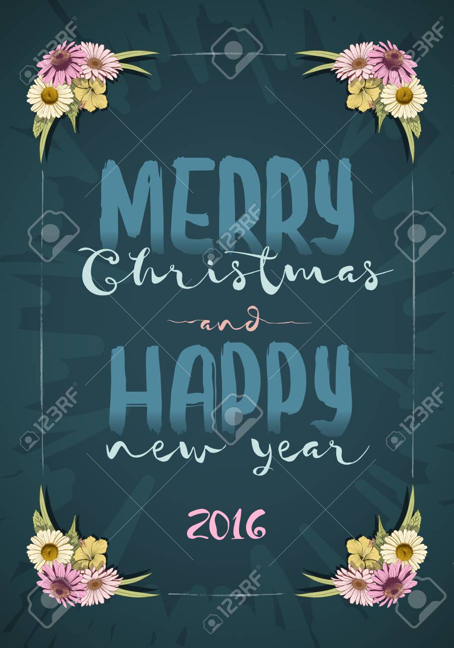 Christmas And Happy New Year Message Board With Colorful Vintage ...