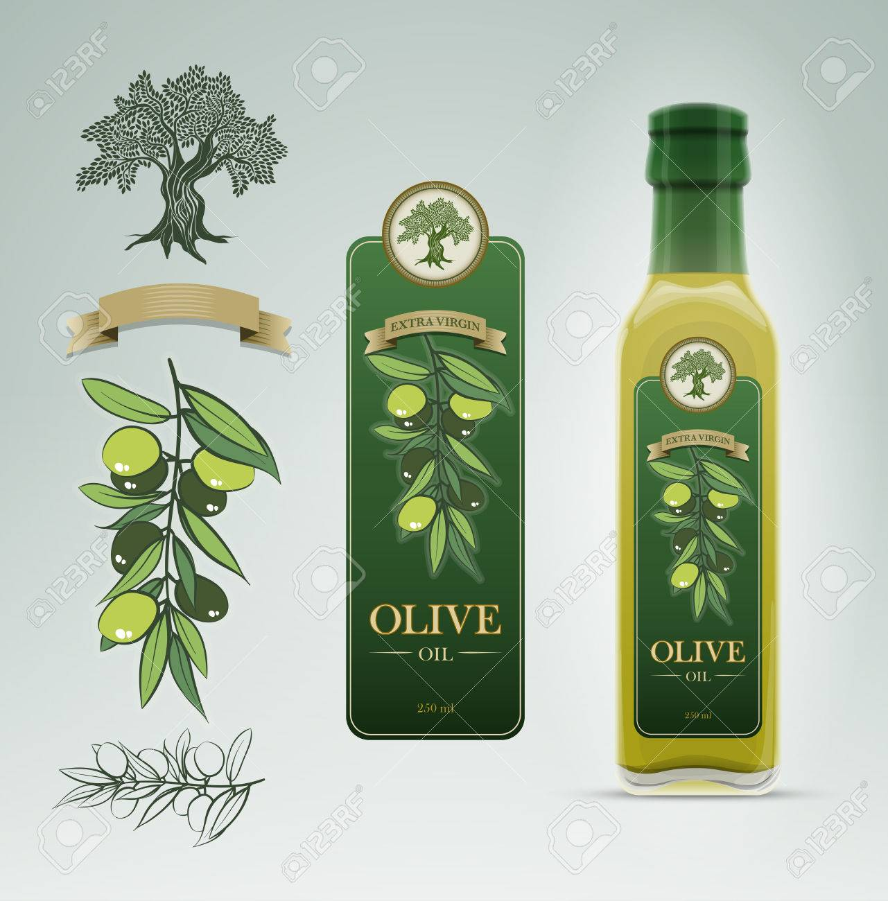 Glass Oil Olive Bottle And Label Design Template. Royalty Free ...