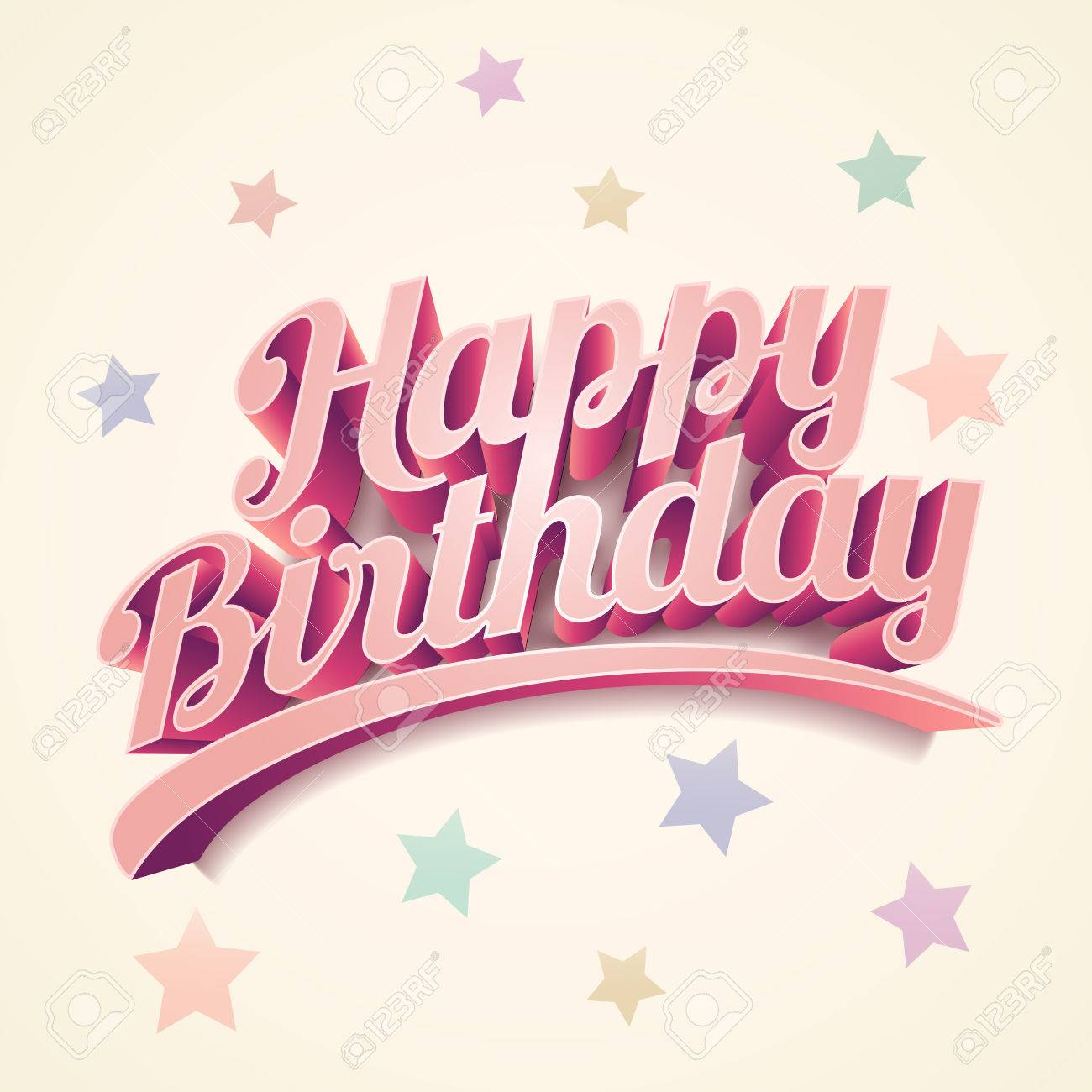Retro 3d Happy Birthday Card Design Stock Vector