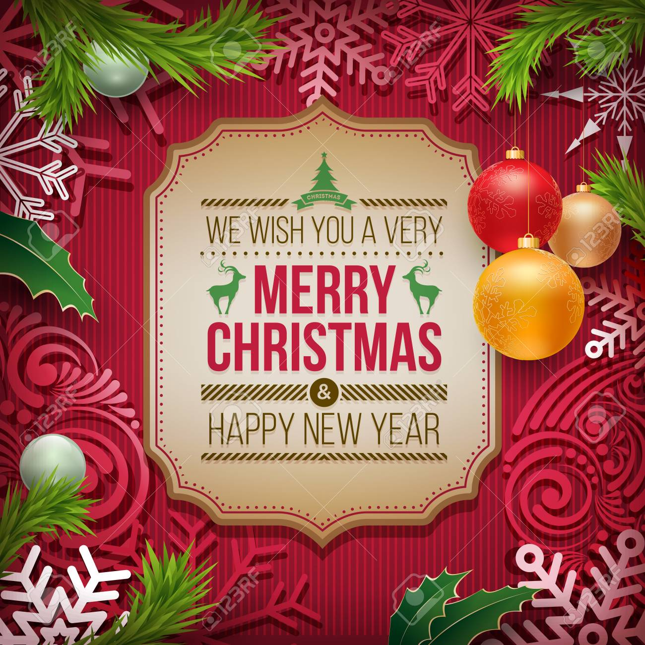 Christmas And New Year Wishes.Vector Christmas And New Year Wishes On Card Christmas Related