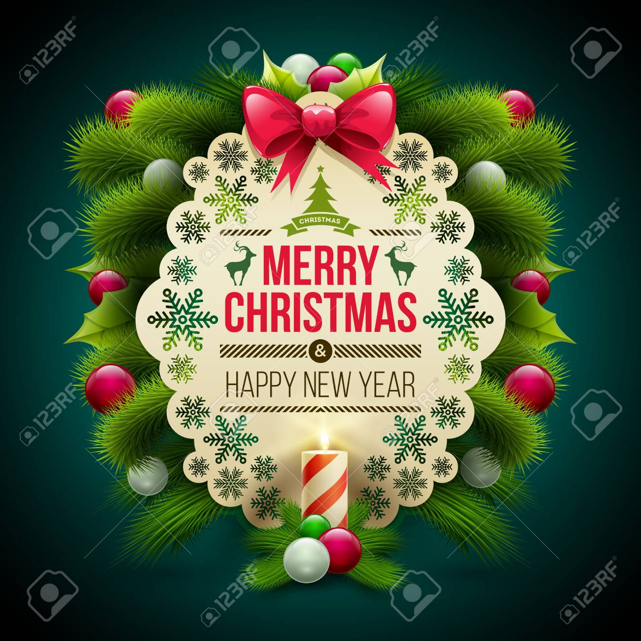 Christmas And New Year Greeting Message Card With Ornaments