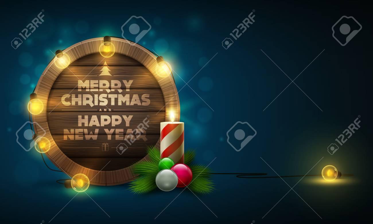 Vektor-Illustration Von Holz Weihnachten Und Neujahr Message Board ...