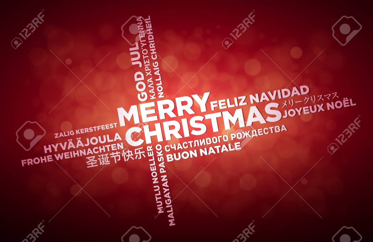 Buon Natale In Inglese.Vettoriale Design Tipografico Di Buon Natale Multi Lingua Il