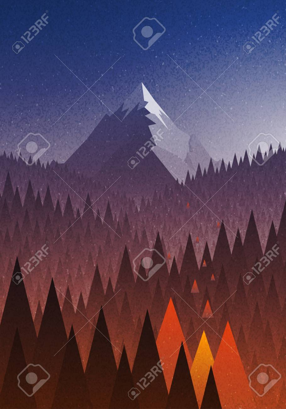 Abstract Nature Landscape Mountain And Forest Fire Disaster