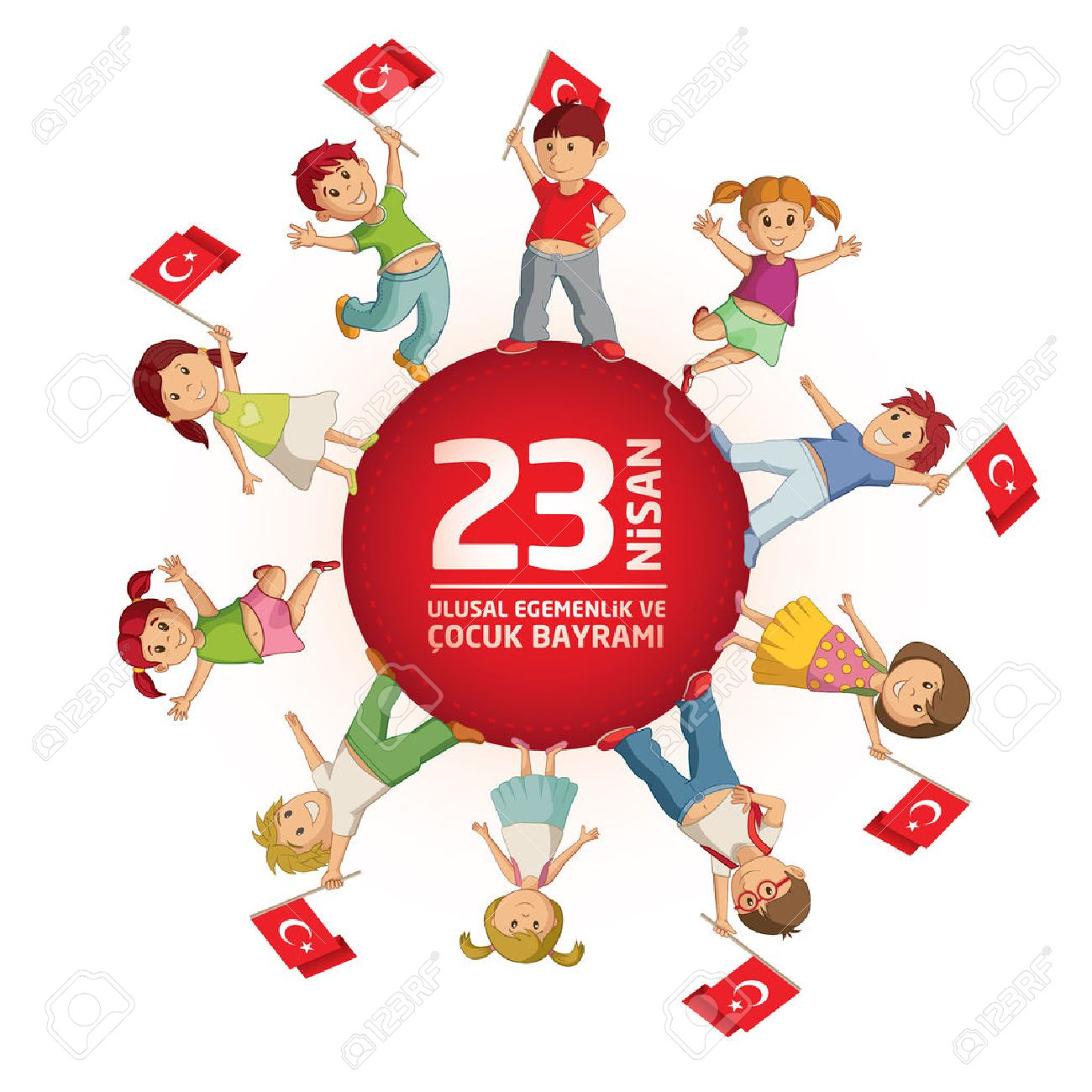 Vector illustration of the 23 Nisan Çocuk Bayrami, April 23 Turkish National Sovereignty and Children's Day, design template for the Turkish holiday. - 74487164