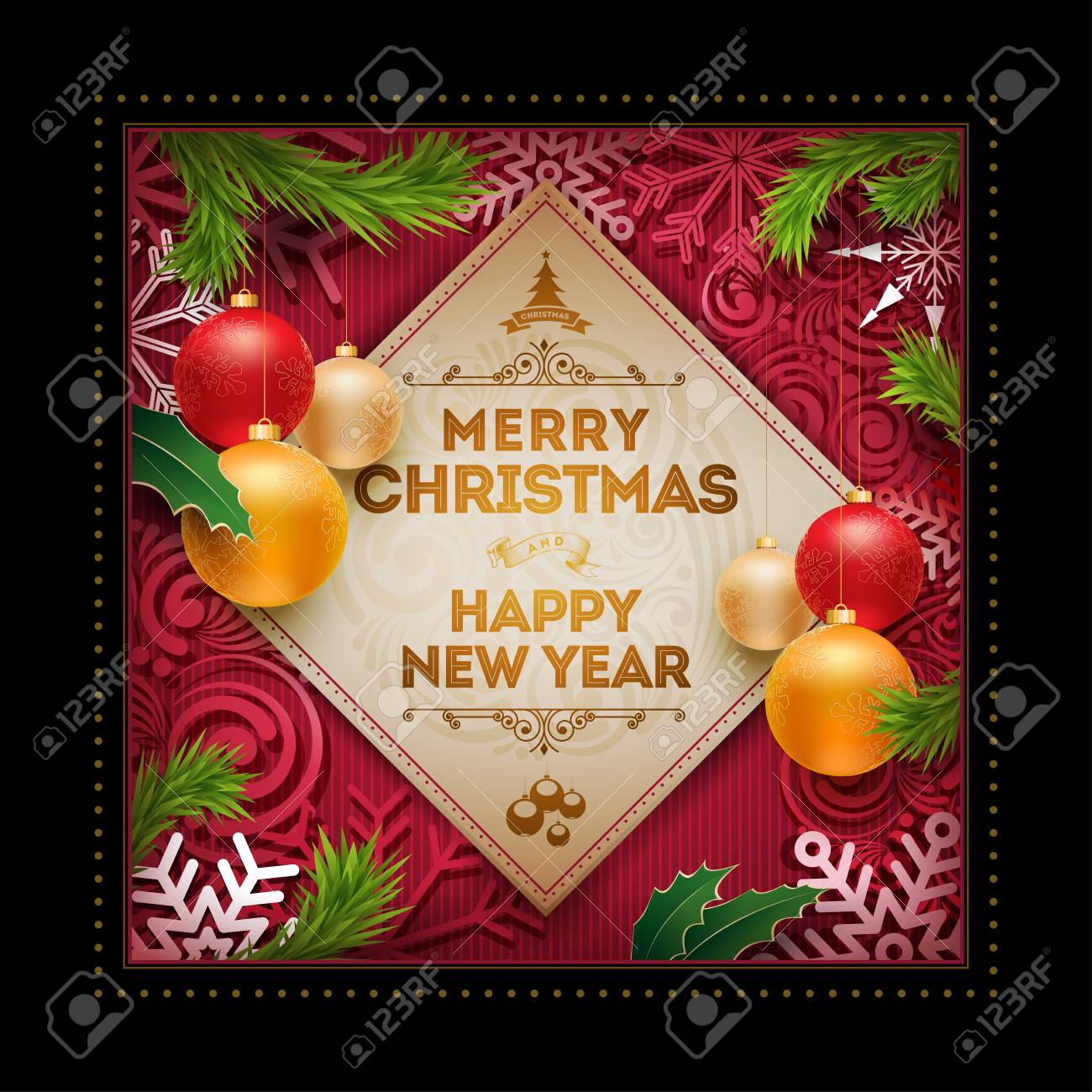Christmas And New Year Wishes.Vector Christmas And New Year Wishes On Greeting Card Christmas