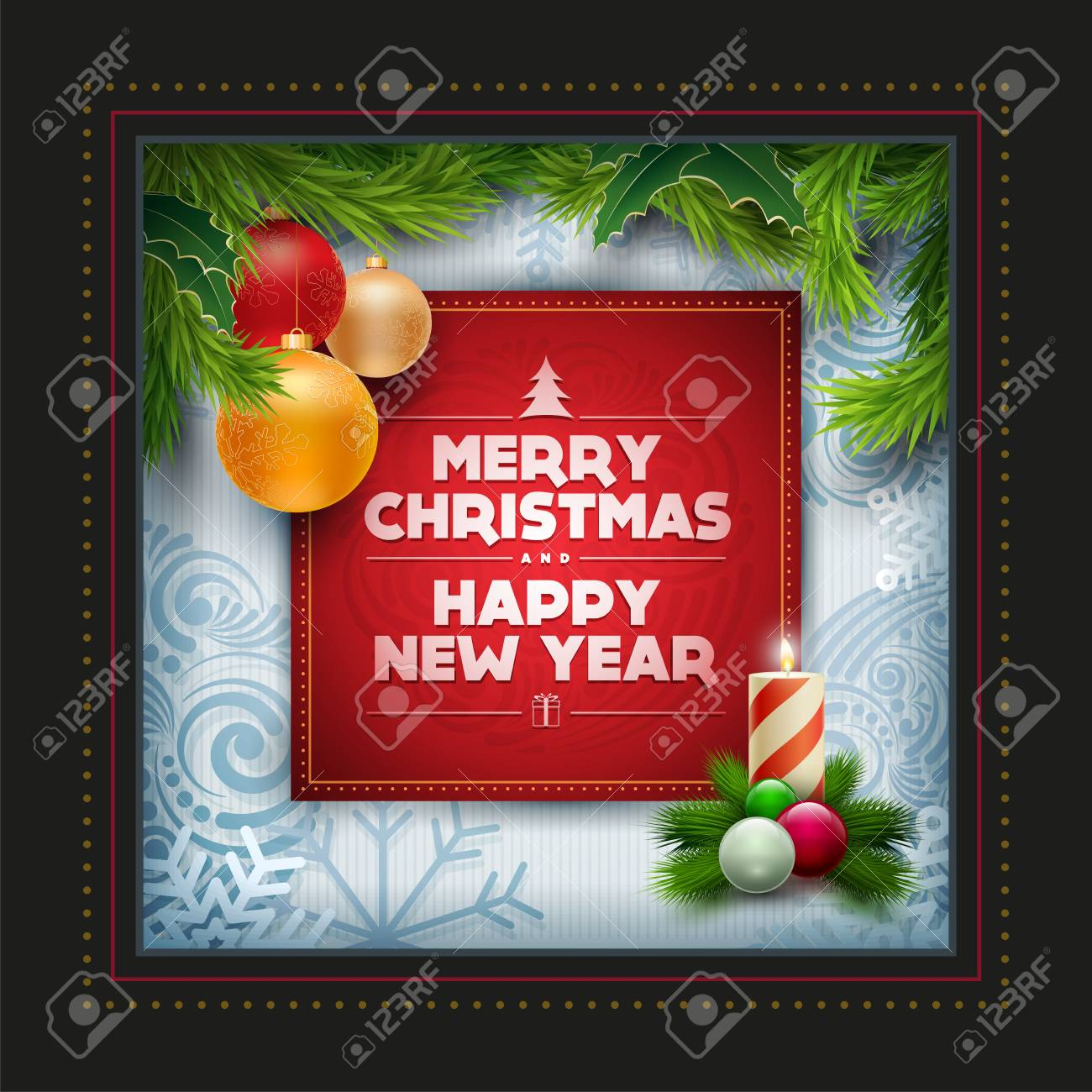 stock photo vector christmas and new year wishes on greeting card christmas related ornaments objects background elements are layered separately in