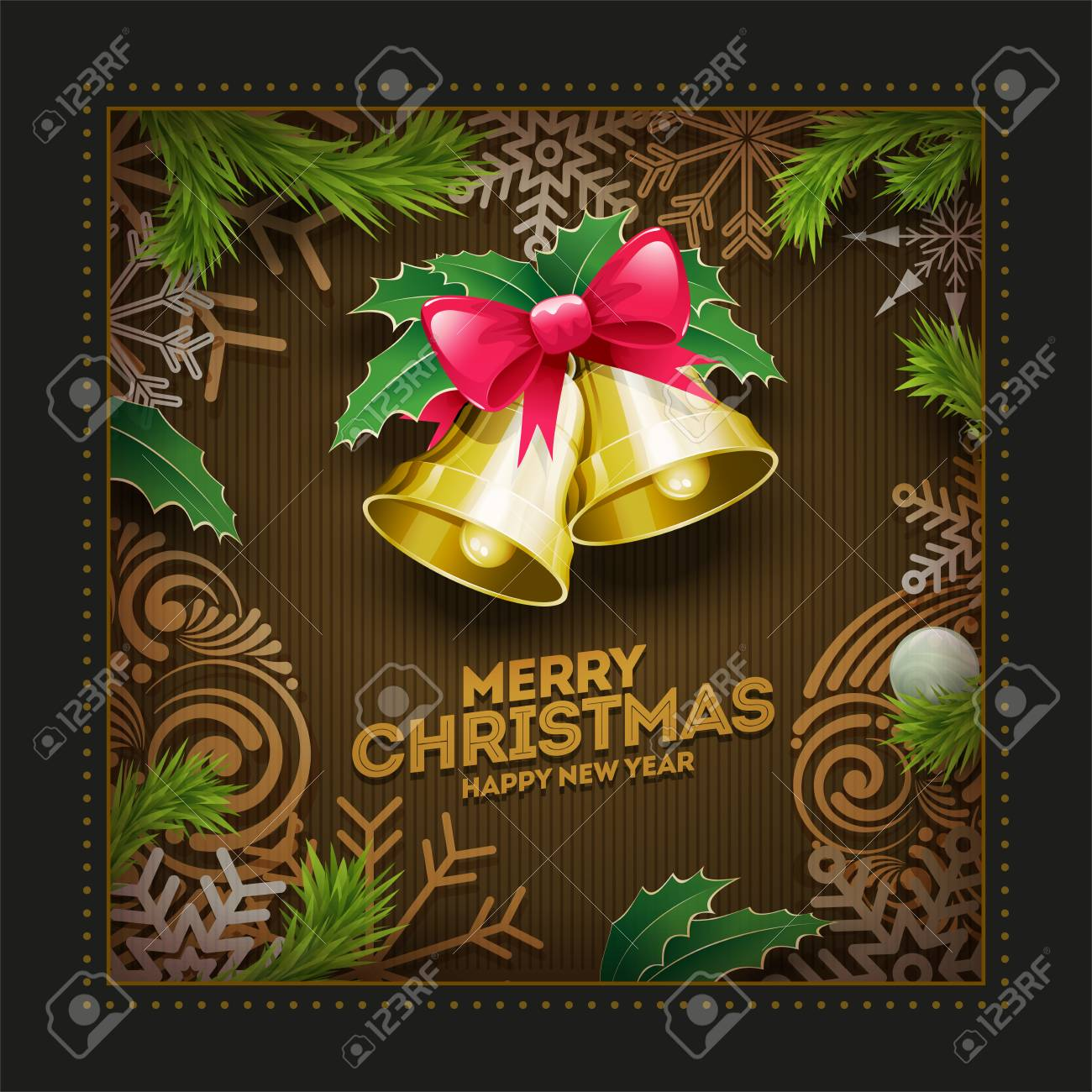 vector vector christmas and new year wishes on greeting card christmas related ornaments objects background elements are layered separately in vector