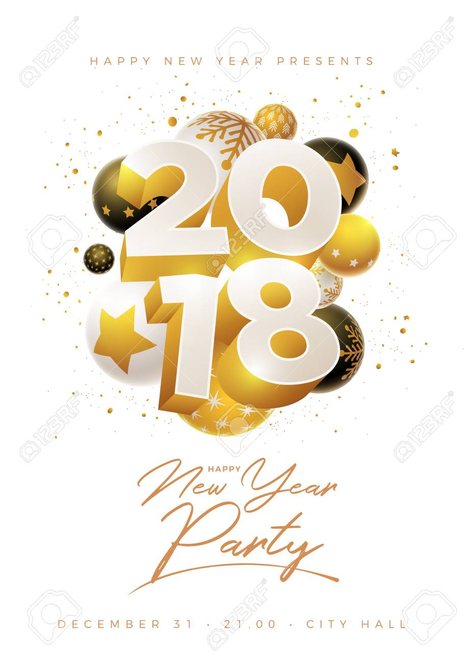 Abstract 2018 New Year Greeting Card Design With 3d White Black