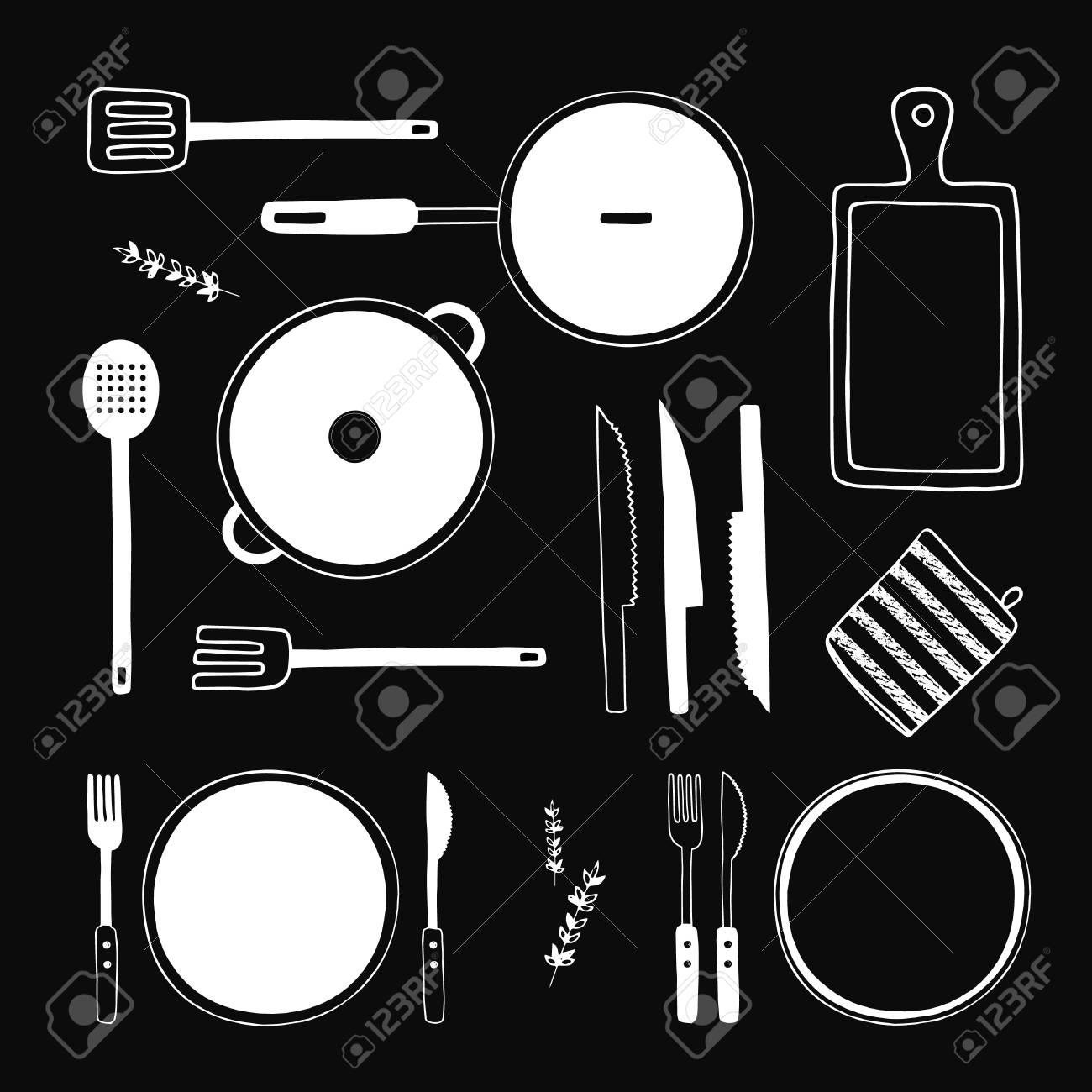 Hand Gezeichnet Küchenutensilien Gesetzt. Küchenhelfer-Kollektion ...