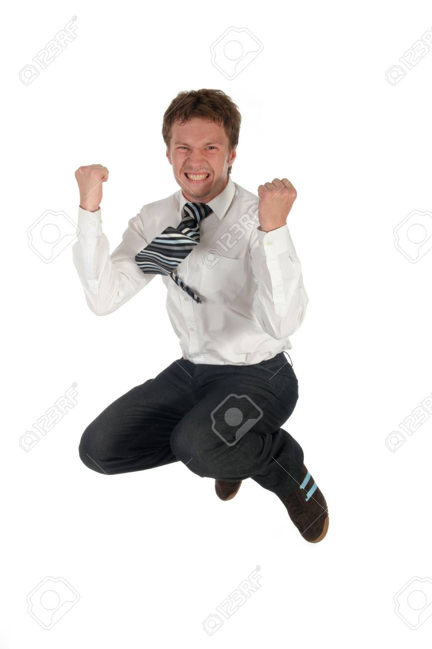 Businessman jumping Stock Photo - 489227