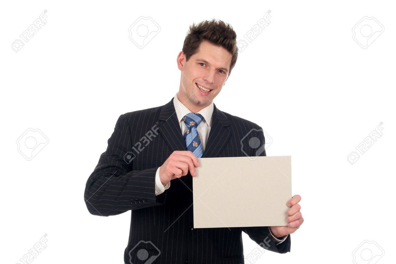 Businessman Holding Blank Card Stock Photo - 667681