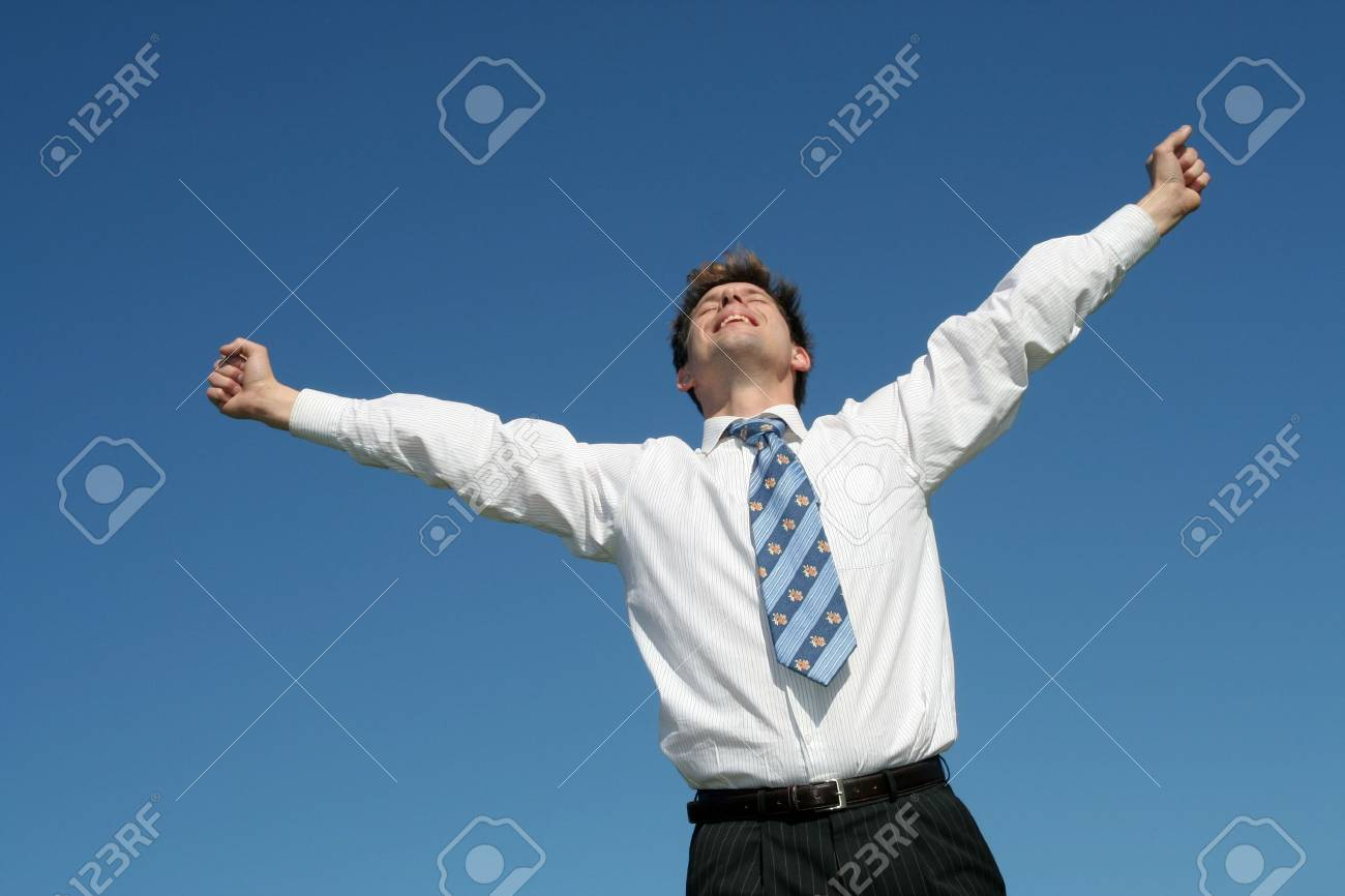 Businessman with Arms Outstretched Stock Photo - 876377