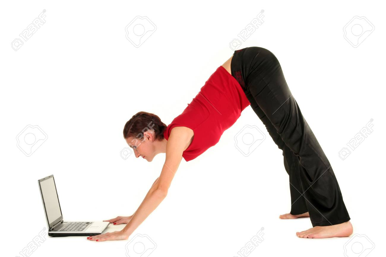 Woman doing yoga with laptop Stock Photo - 1952573