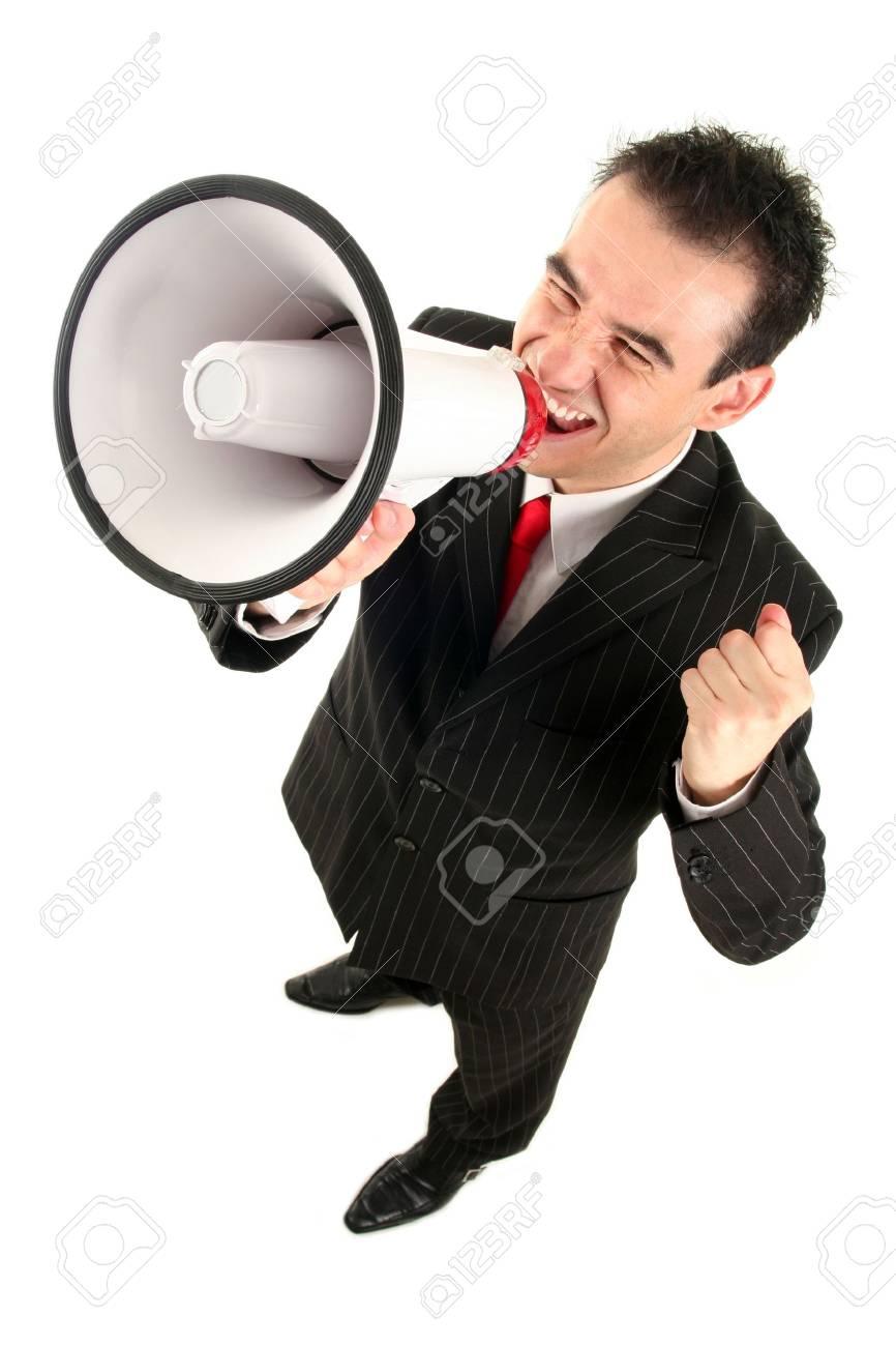 Businessman Shouting Through Megaphone Stock Photo - 1976102