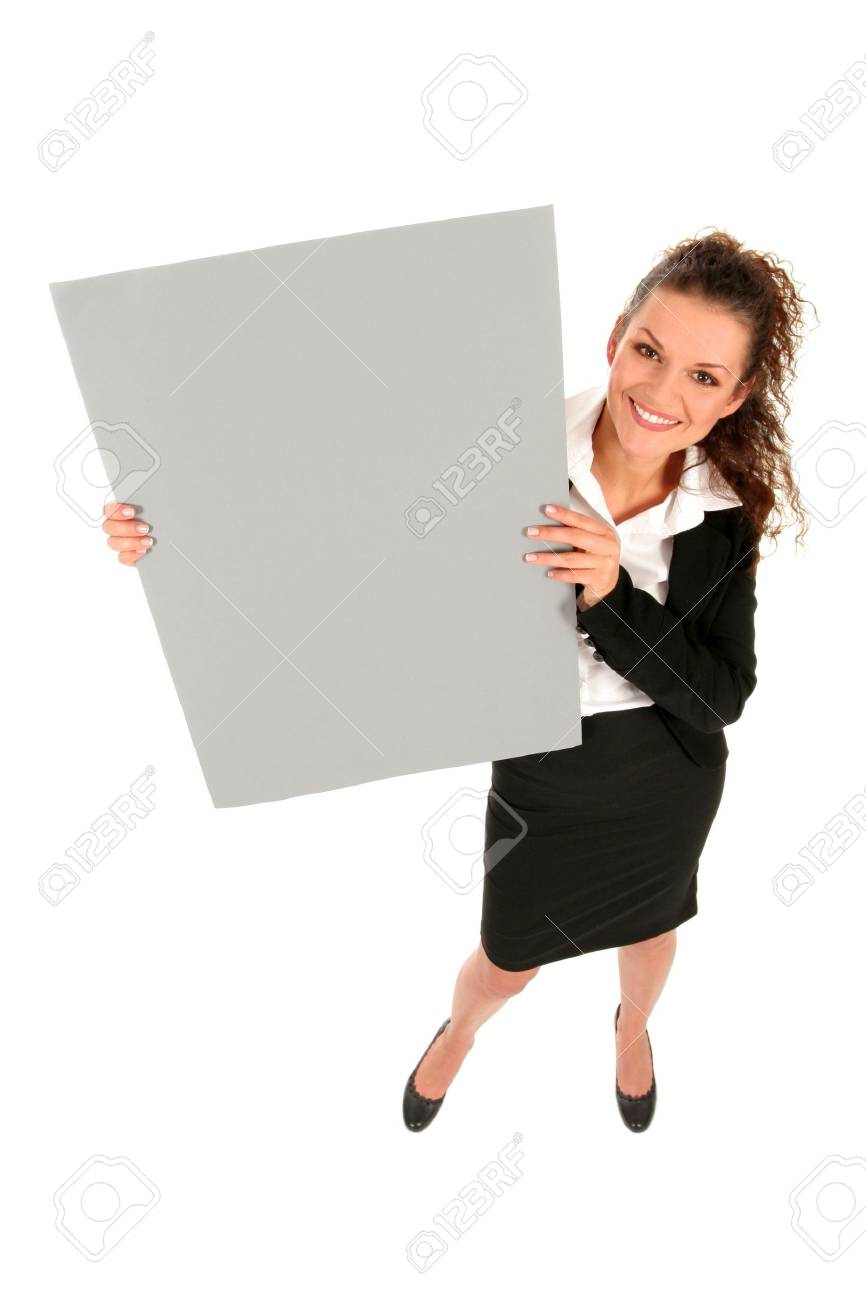 Businesswoman holding blank poster Stock Photo - 2646367