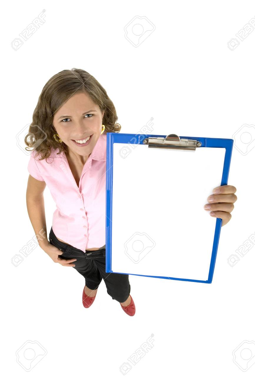 Young woman holding clipboard Stock Photo - 3597682