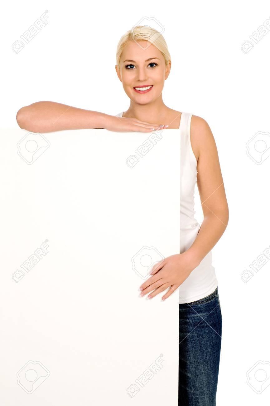 Woman holding blank billboard Stock Photo - 4164384