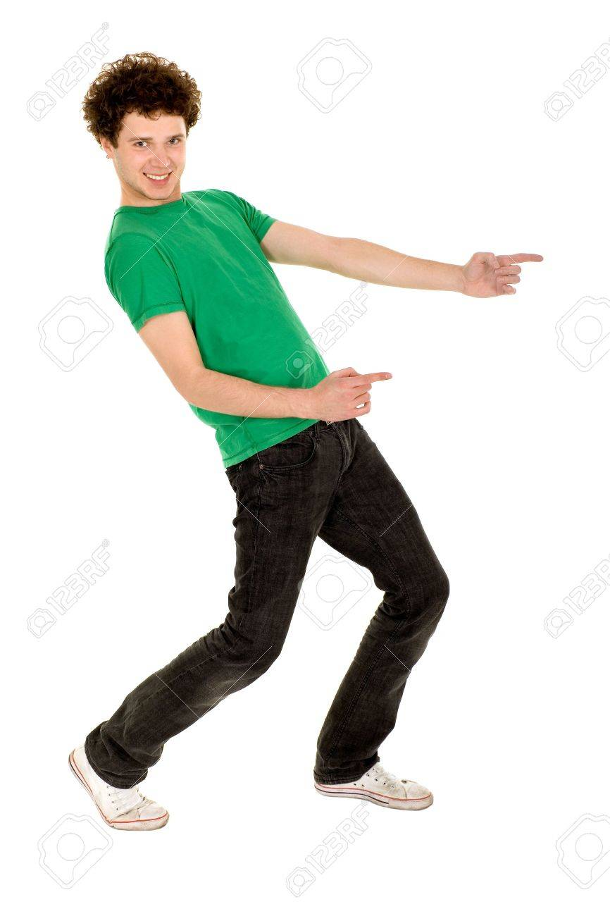 Young man pointing Stock Photo - 4924652