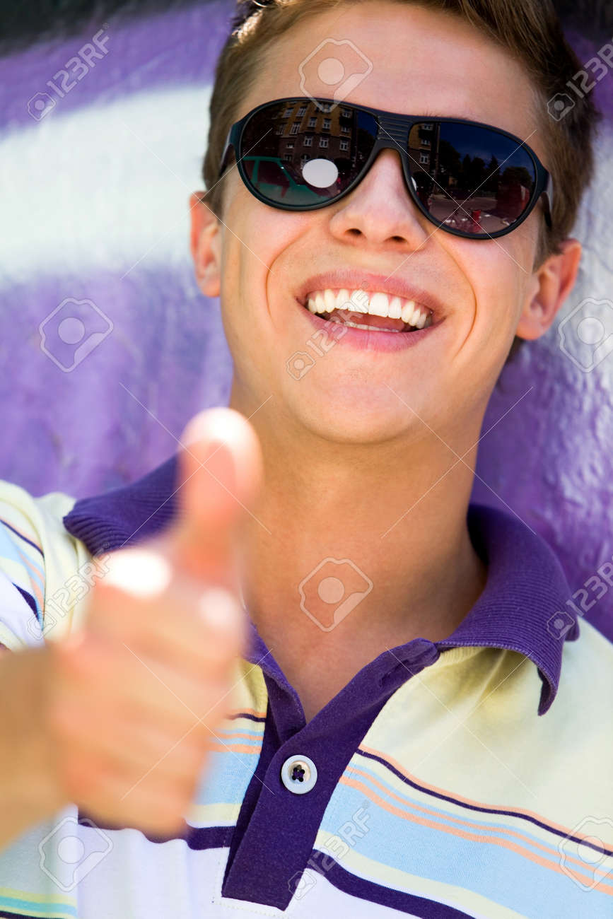 Young man with thumbs up Stock Photo - 7367557