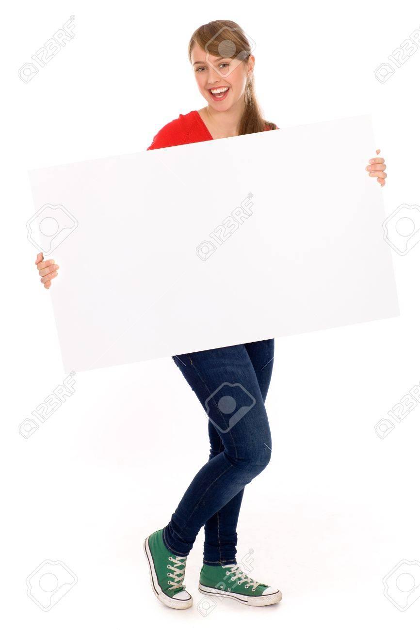 Girl holding banner add Stock Photo - 8097042