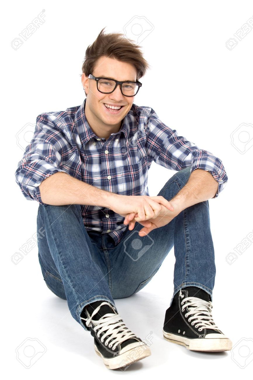 Young man sitting on floor Stock Photo - 8888103