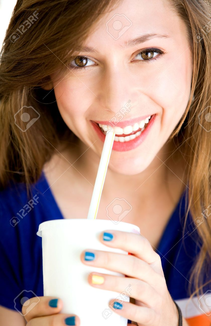 Girl drinking soda Stock Photo - 10514413
