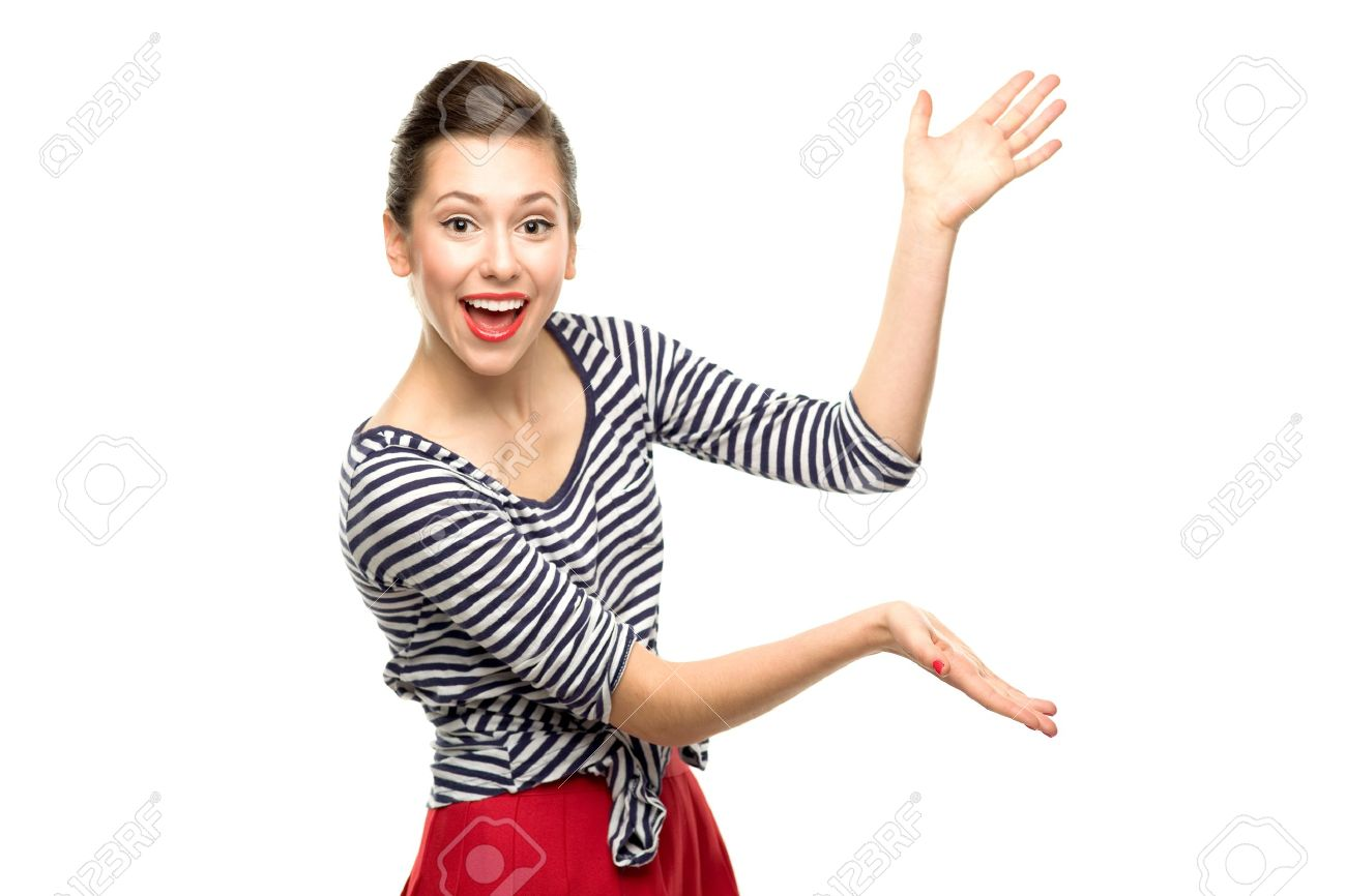 attractive woman presenting something stock photo picture and