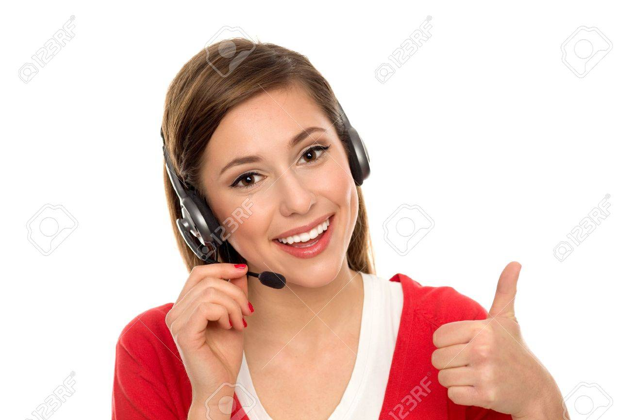 Happy woman with telephone headset Stock Photo - 11478436