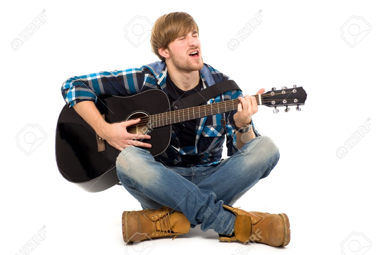 Man playing acoustic guitar Stock Photo - 11622333