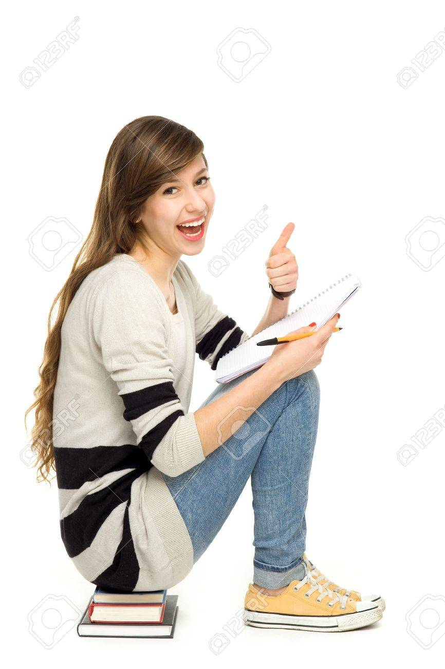 Female student with thumbs up Stock Photo - 12377160