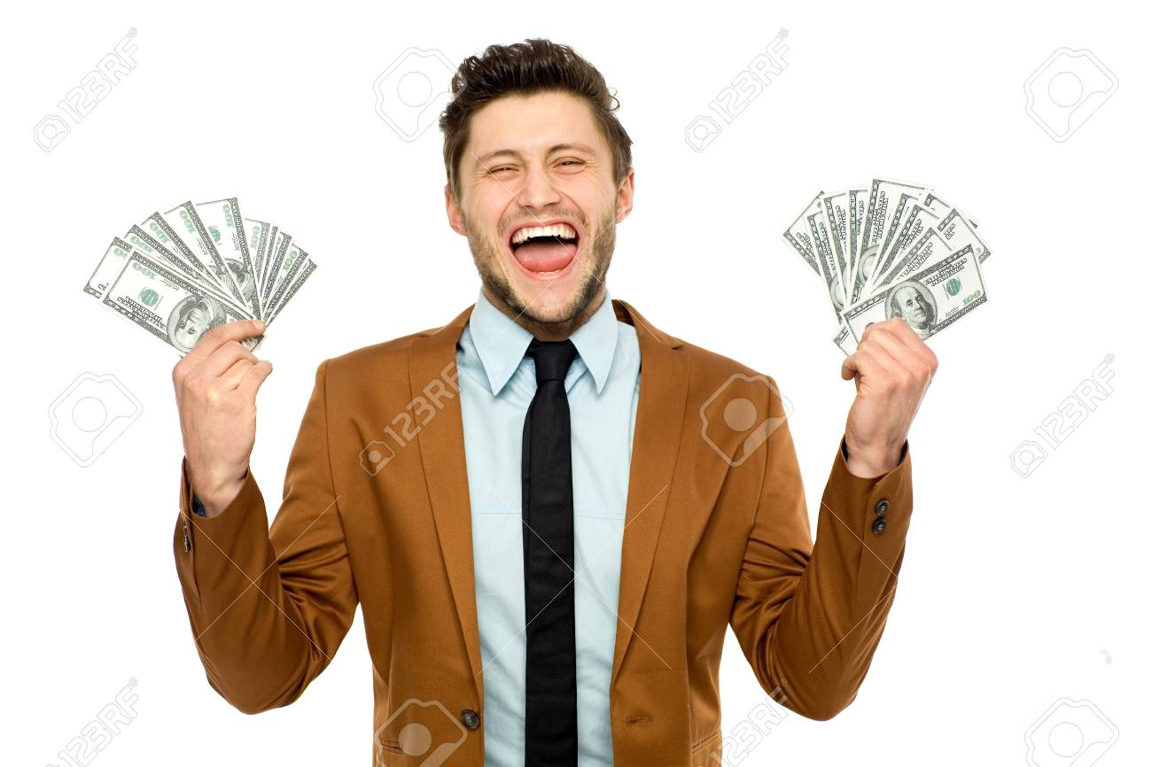 Man with dollar bills Stock Photo - 13063156