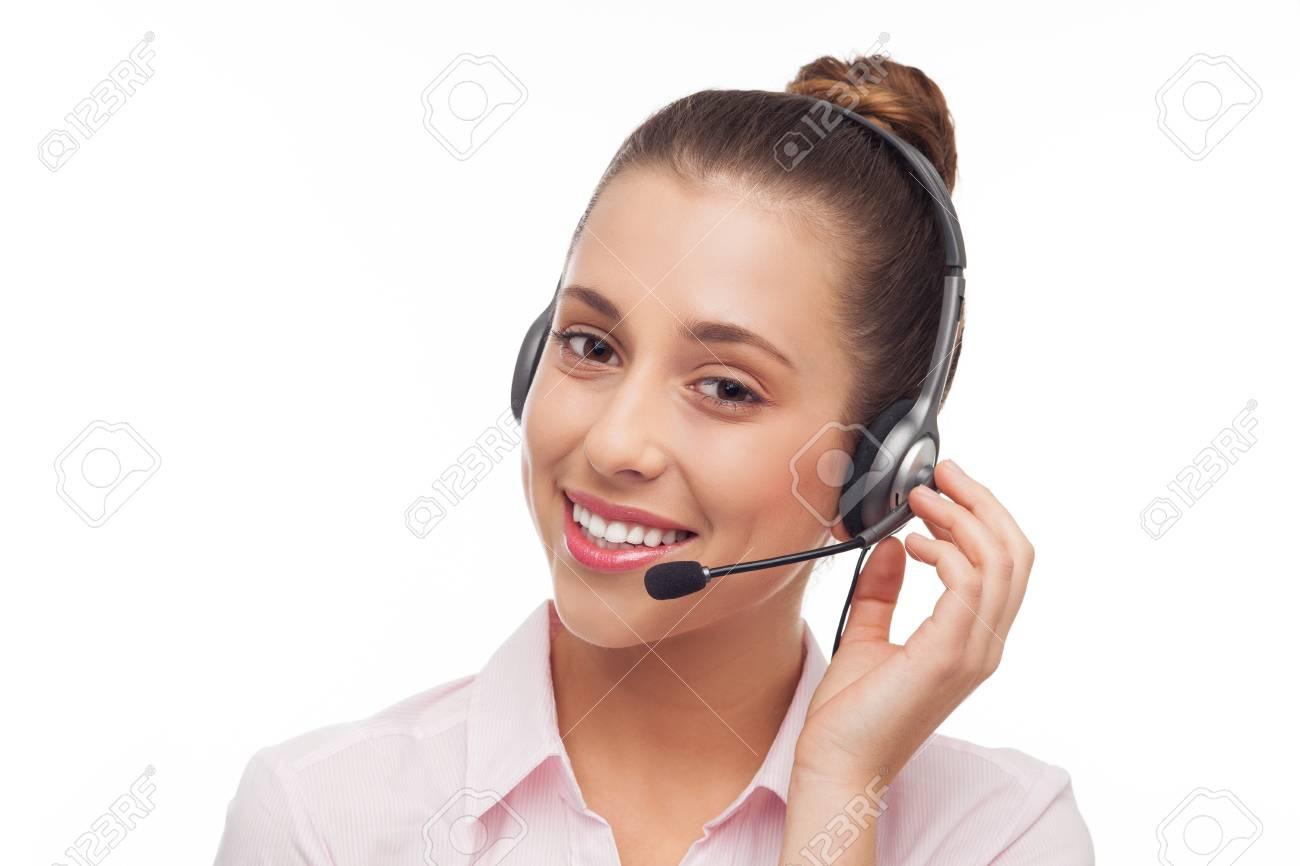 Woman wearing headset Stock Photo - 15940158