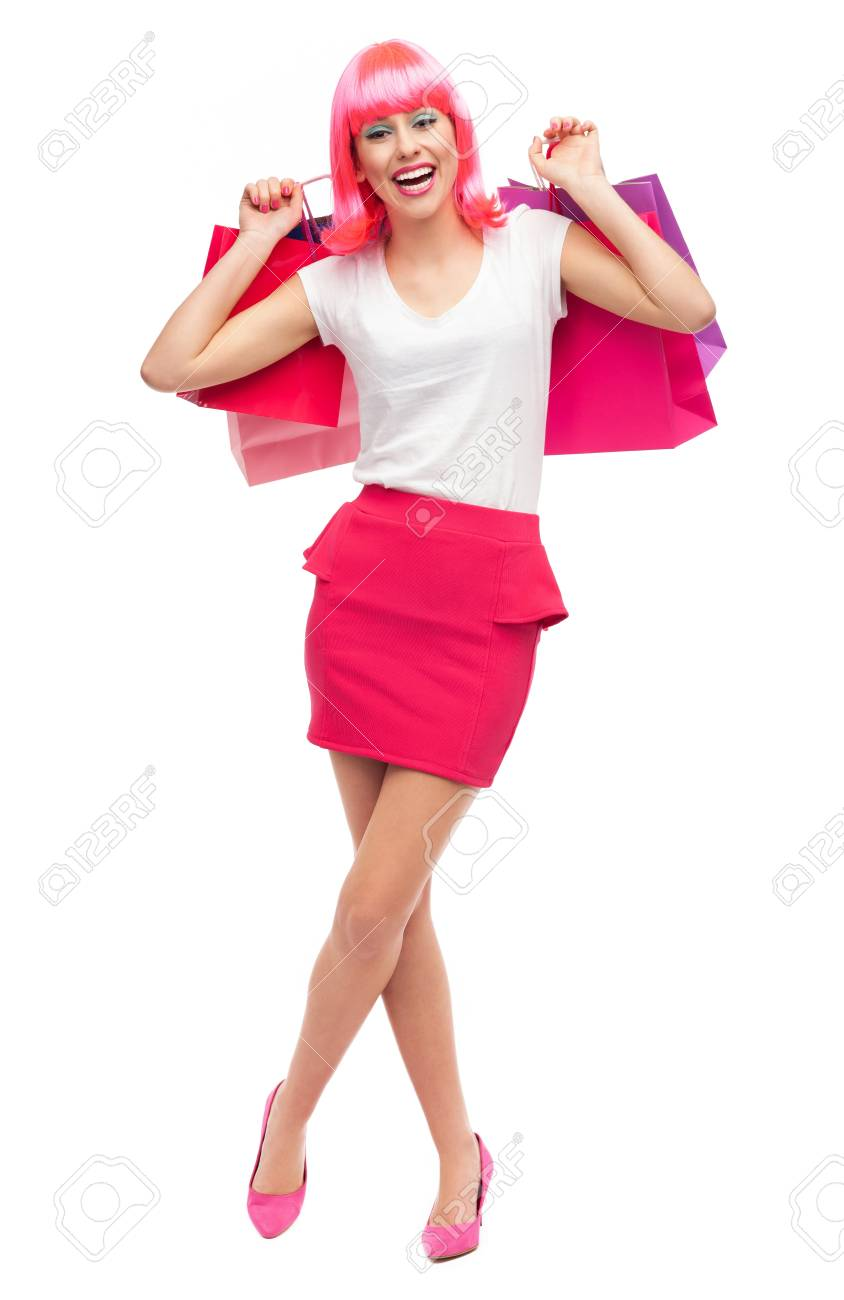 Happy young woman with shopping bags Stock Photo - 16985472