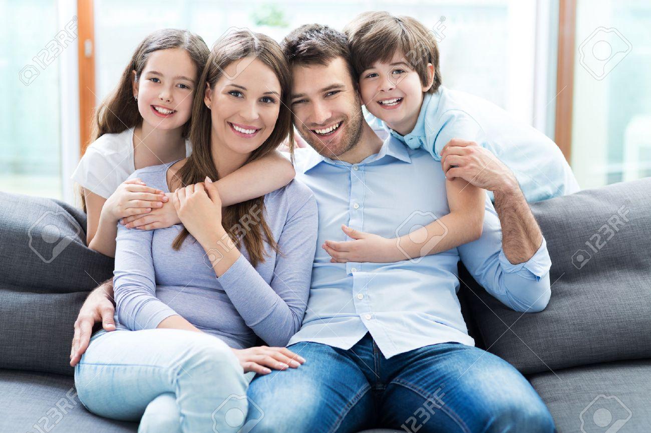 Happy family at home Stock Photo - 40349571