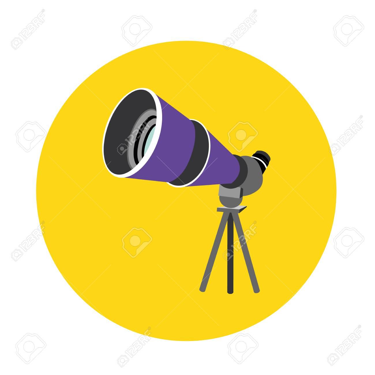Birdwatching travel scope icon isolated on yellow background