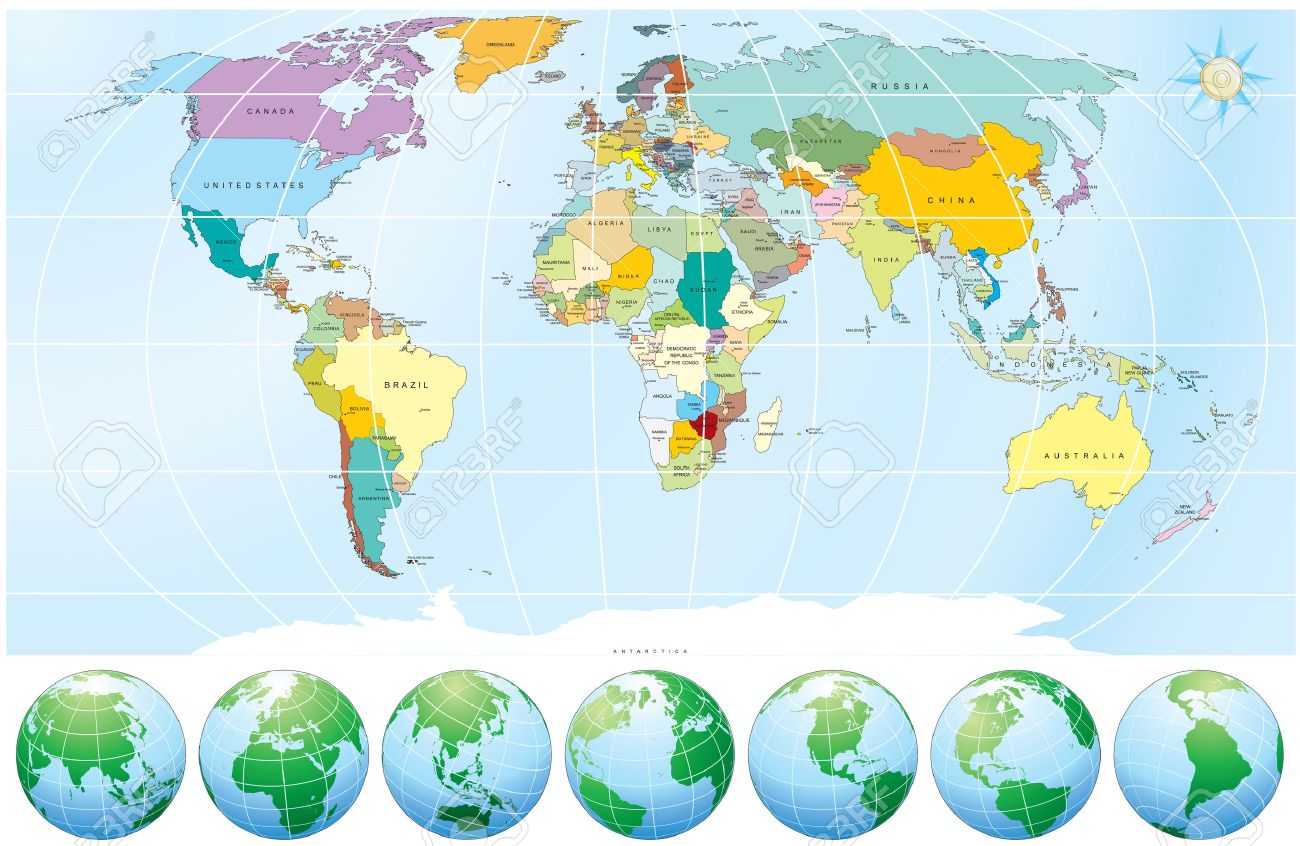 Detailed World Map With All Names Of Countries And Capitals - Detailed world map