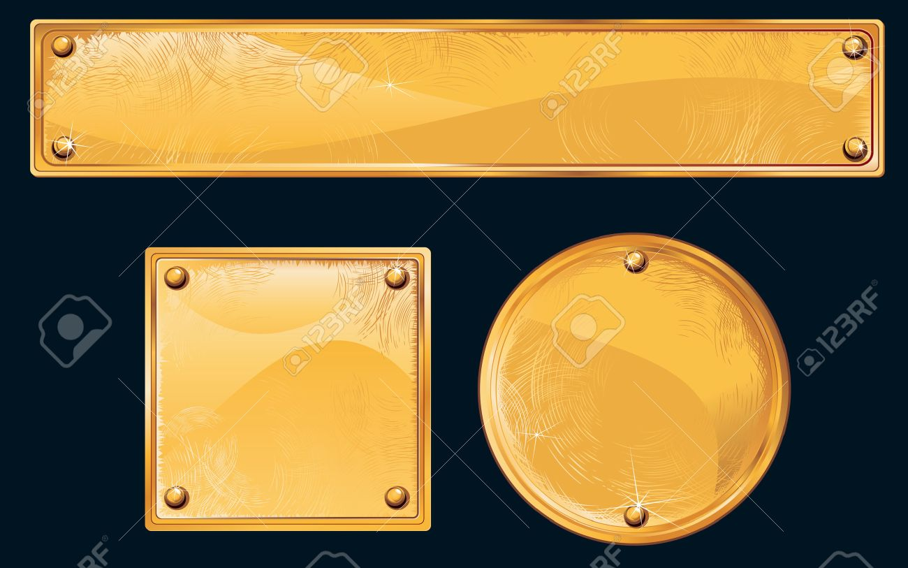 Old golden plates and signboards Stock Vector - 7628816