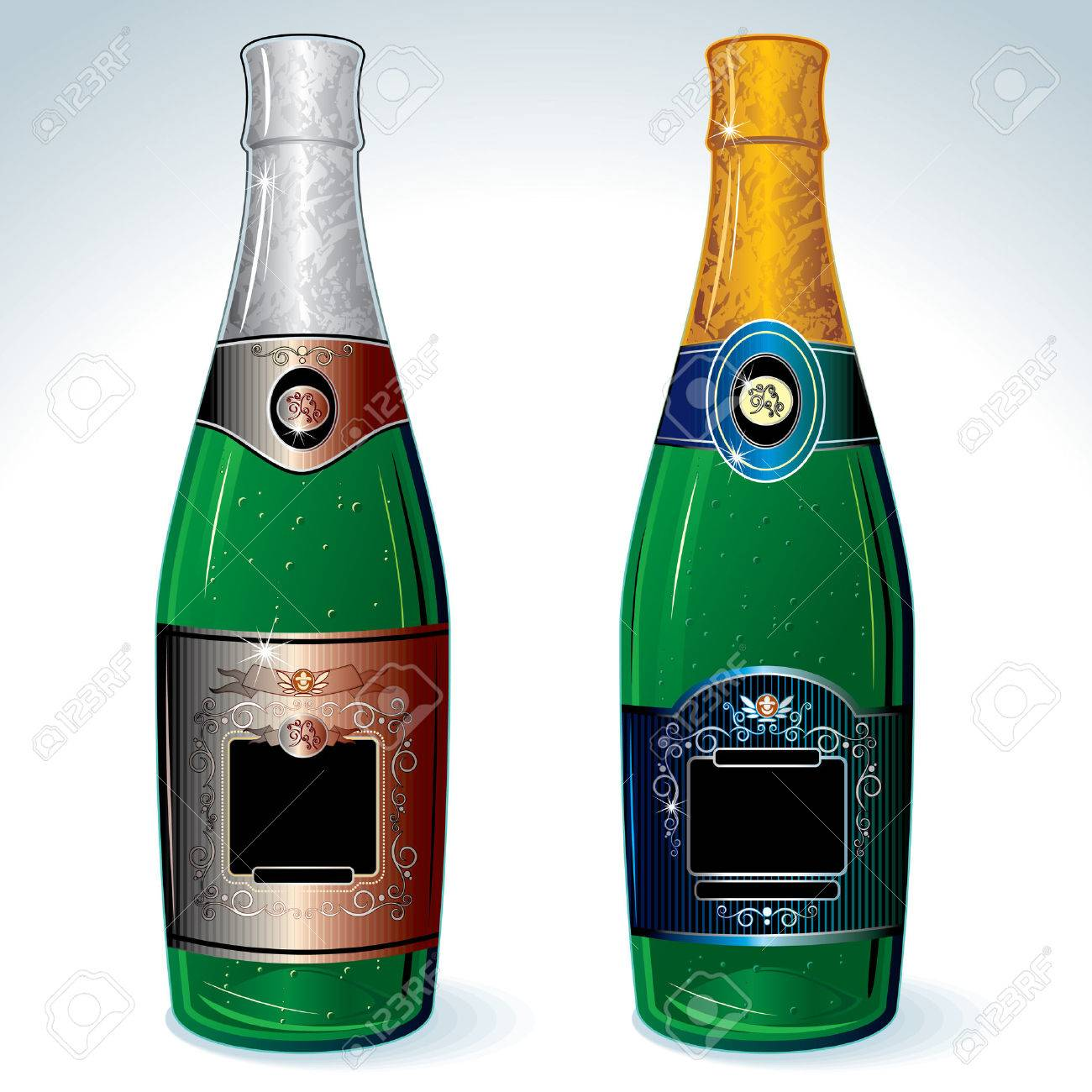 Two luxury champagne bottles with empty label for your design (no meshes used) Stock Vector - 7628920