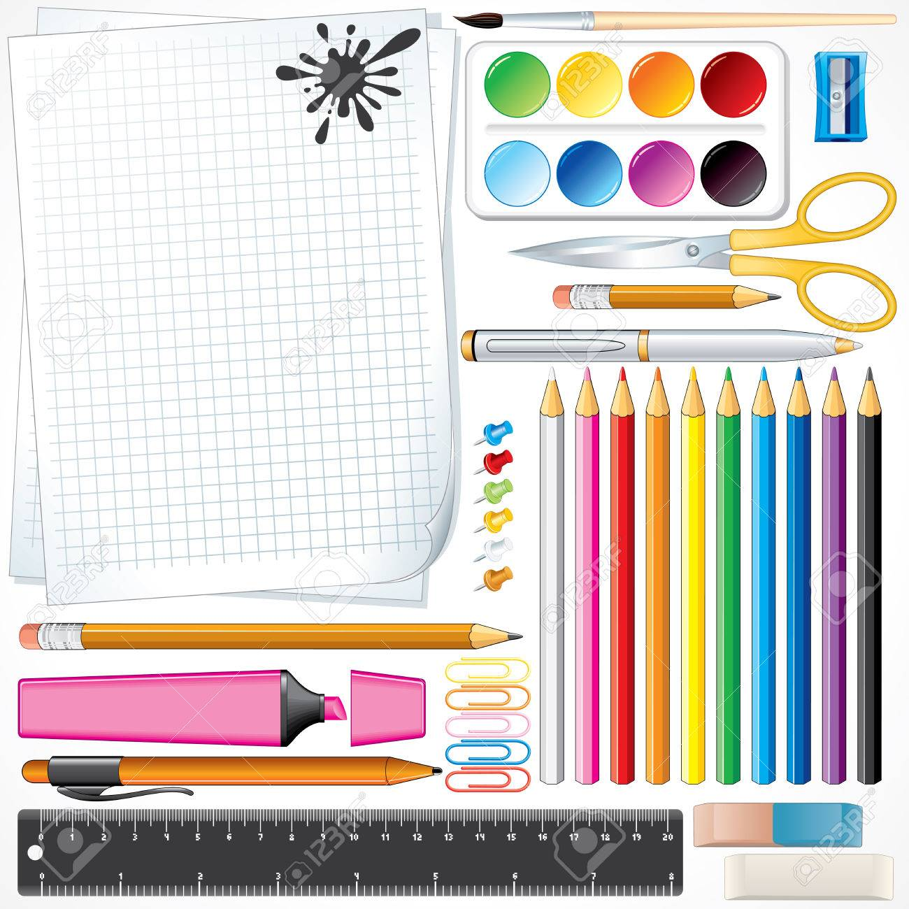 Set of school tools and supplies -all object separated and grouped Stock Vector - 7628921