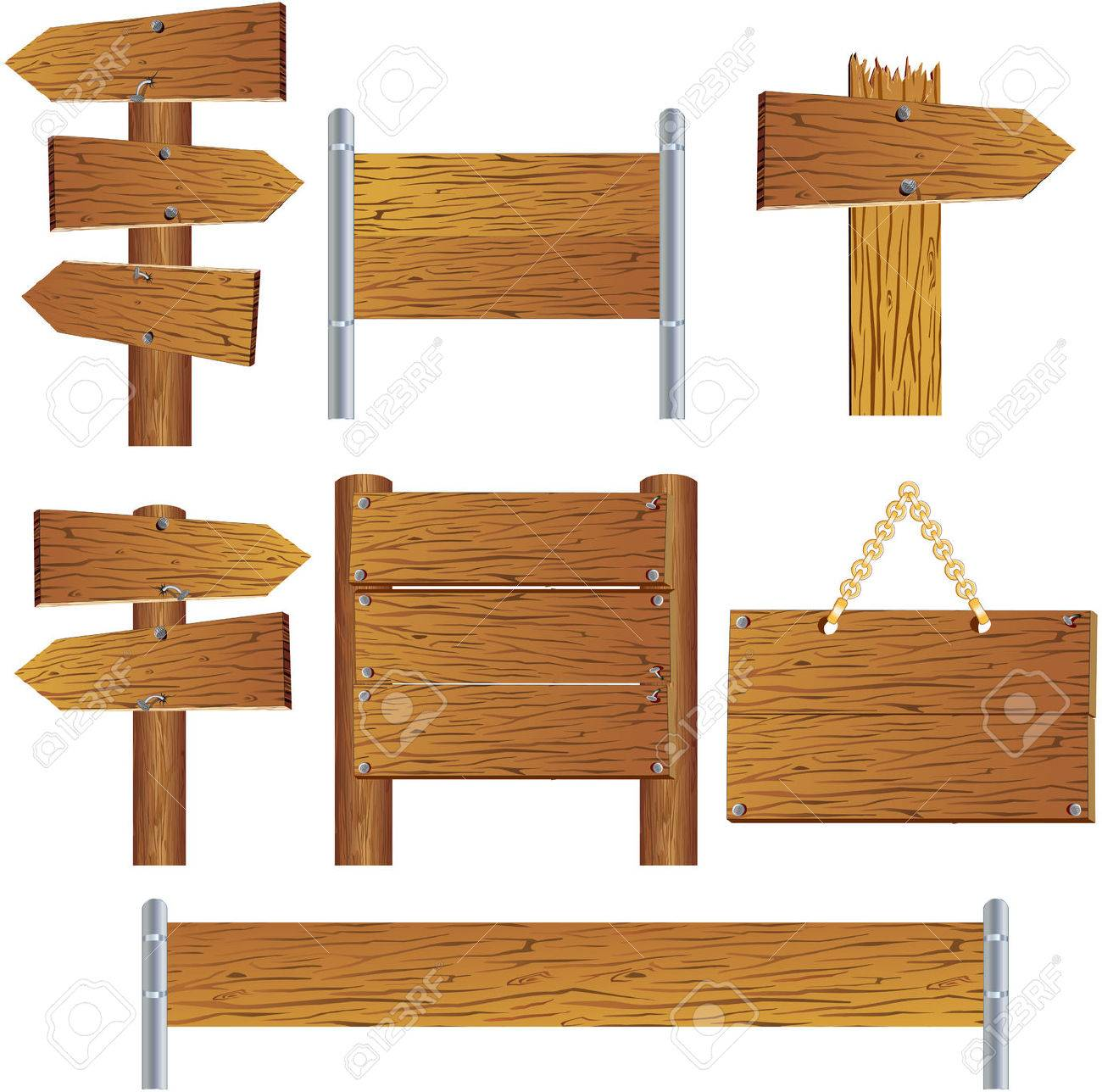 Collection of wooden sign and signboard Stock Vector - 7628926