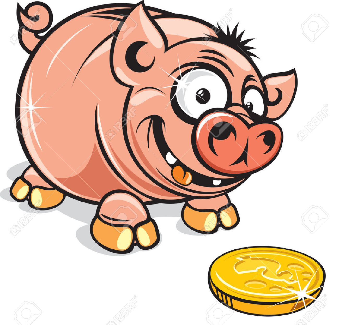 funny cartoon greedy piggy bank vector clip art royalty free rh 123rf com funny clip art images funny clipart spring