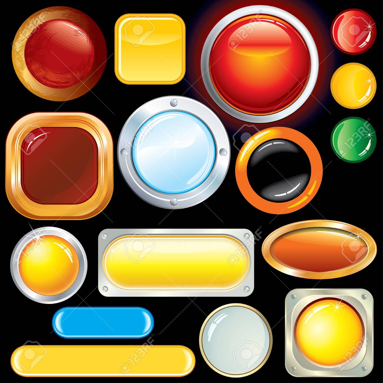 Collection various glossy buttons and bars-only gradients used Stock Vector - 7649852