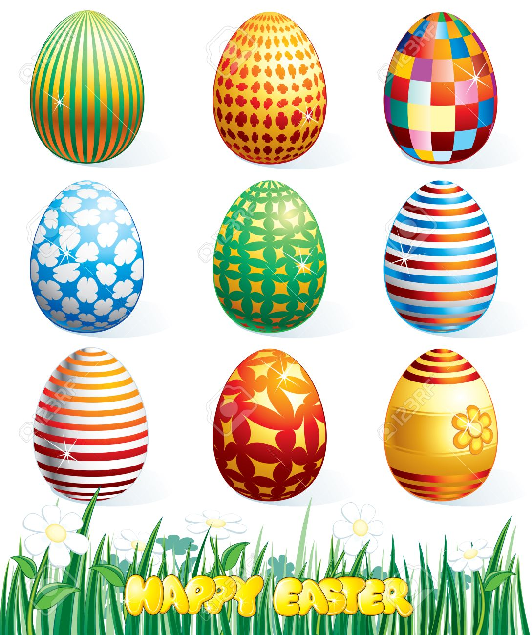 collection of beauty easter eggs vector clip art royalty free