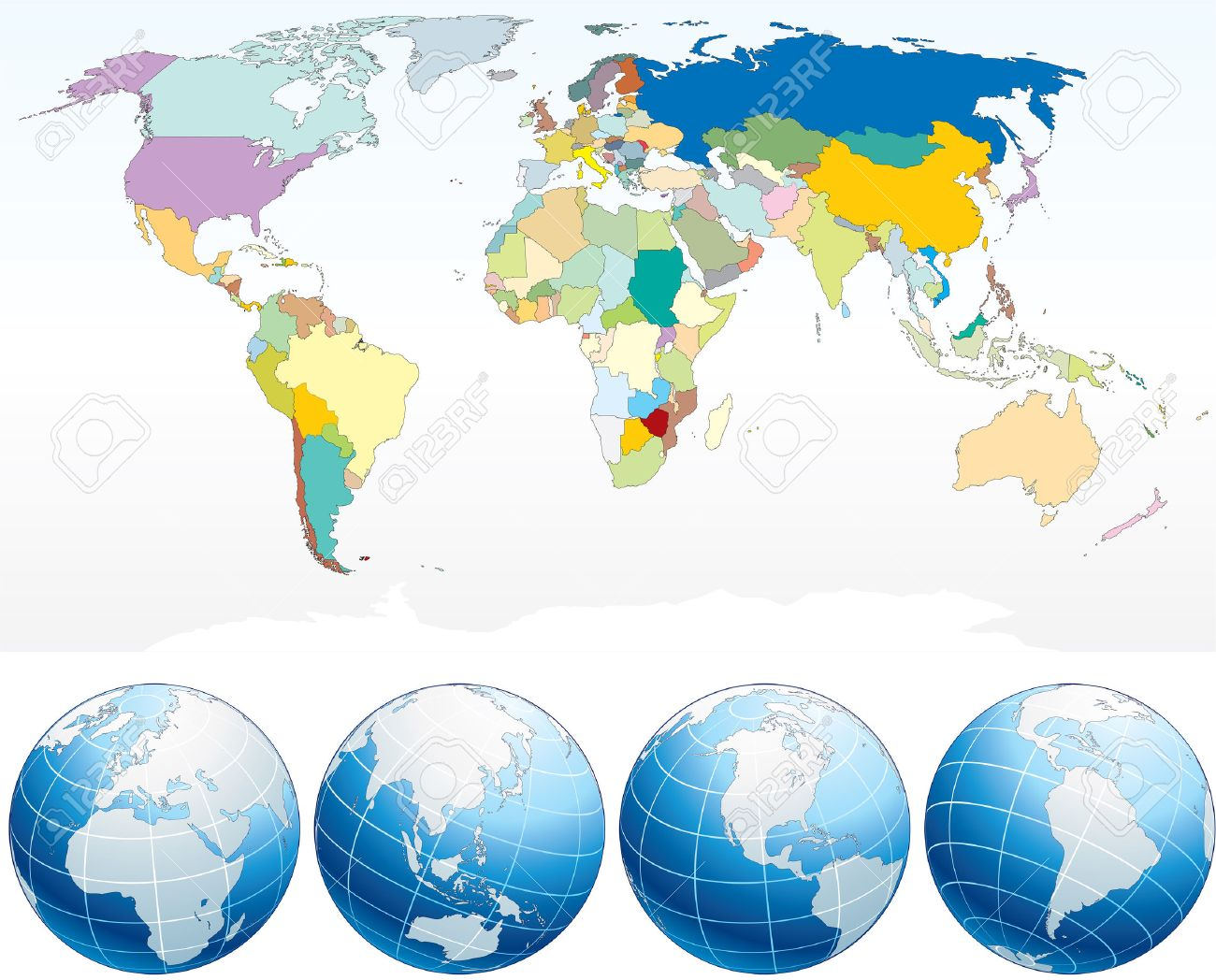 Detailed world map with countries political map with individual detailed world map with countries political map with individual drawn objects separated country and gumiabroncs Image collections