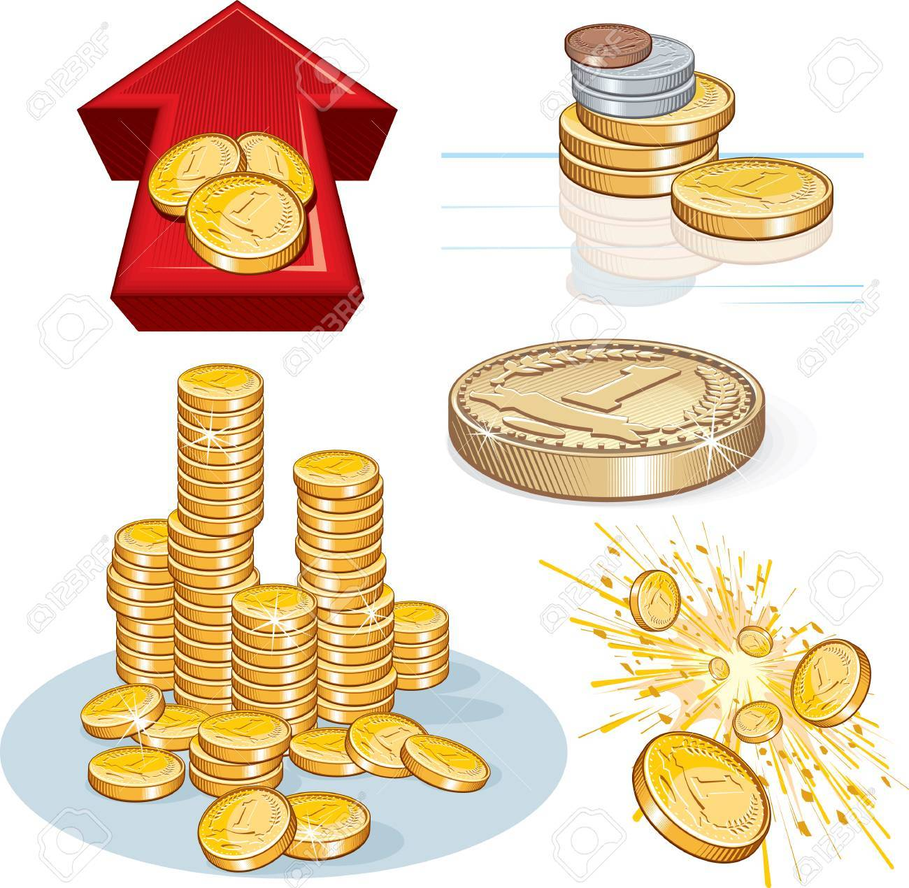 Detailed finance illustrations / icons - colors with no gradients, no meshes Stock Vector - 7714453