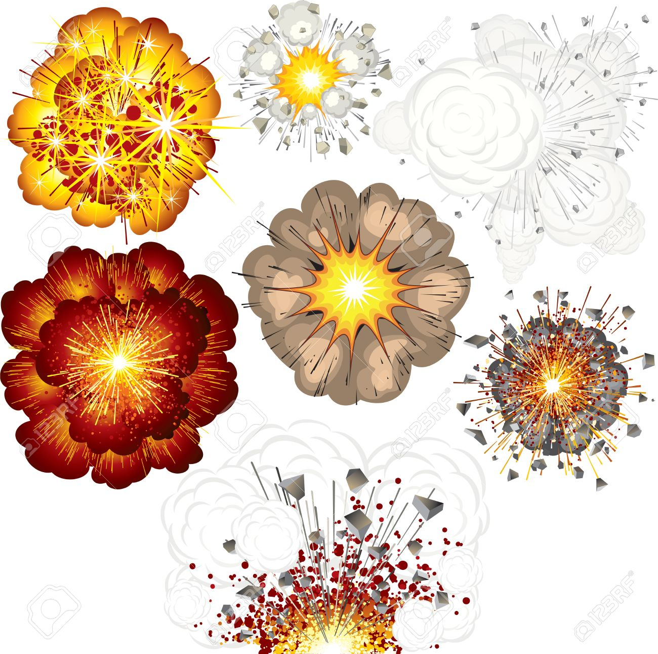 Different explosions-set of  illustrations Stock Vector - 7714455
